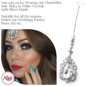 Madz Fashionz UK: Makebysanchez Delicate Crystal Maang Tikka Headpiece Silver White