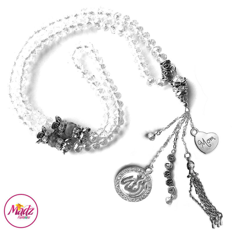 Madz Fashionz UK: 99 Beads Personalised Tasbeeh with White Crystals in Silver Finish