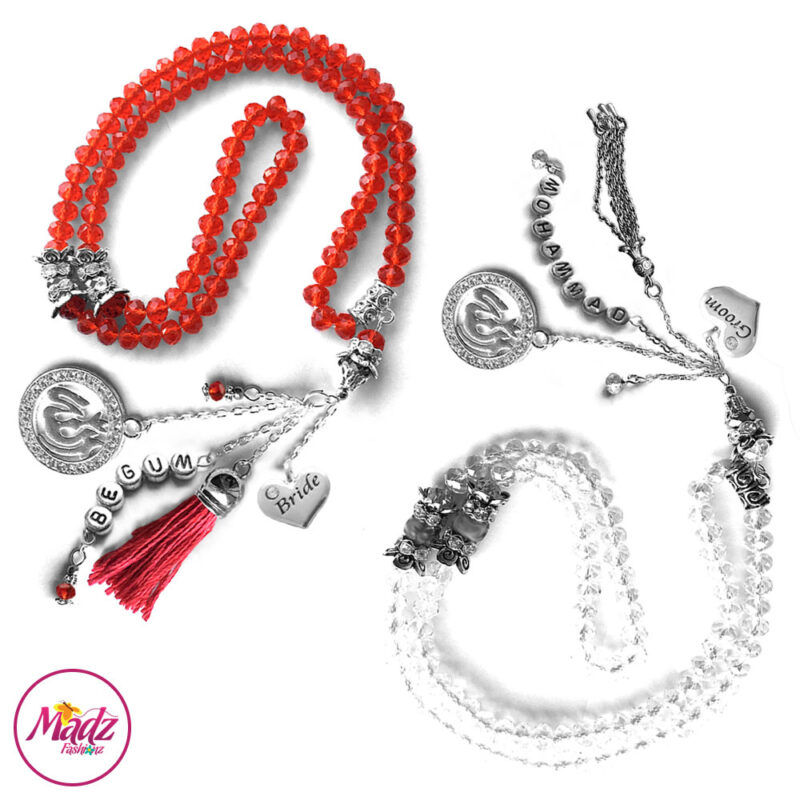 Madz Fashionz UK: Bride and Groom 99 Beads Personalised Tasbeeh Set with White Red Crystals in Silver Finish