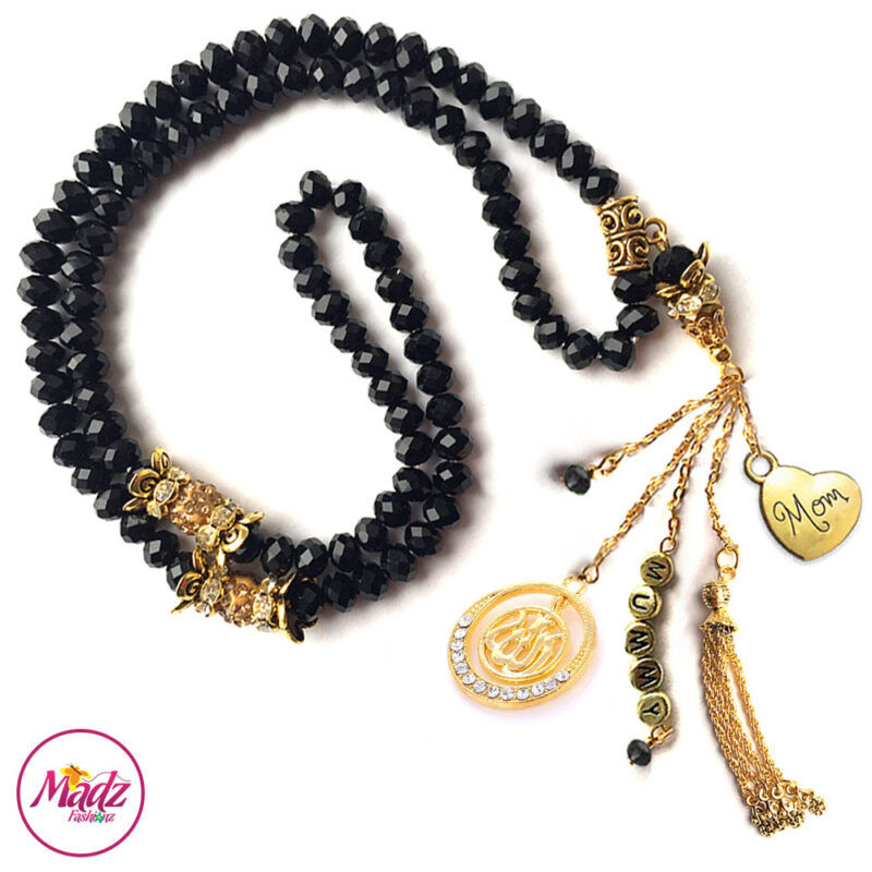 Madz Fashionz UK: 99 Beads Personalised Tasbeeh with Black Crystals in Gold Finish
