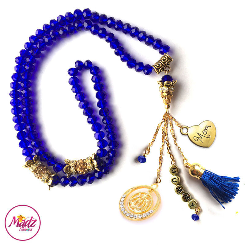 Madz Fashionz UK: 99 Beads Personalised Tasbeeh with Royal Blue Crystals in Gold Finish