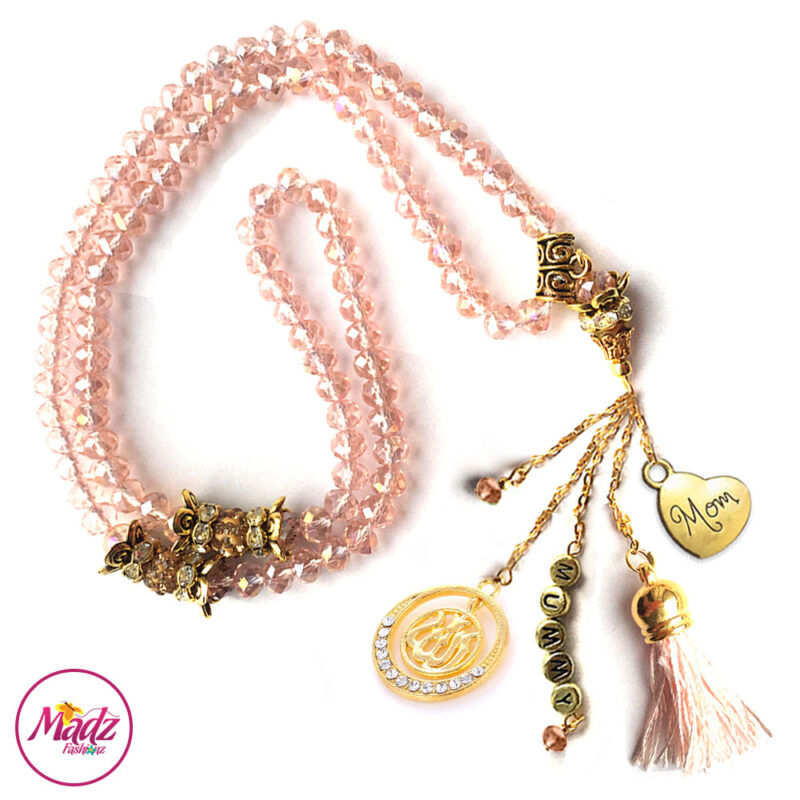 Madz Fashionz UK: 99 Beads Personalised Tasbeeh with Light Pink Crystals in Gold Finish