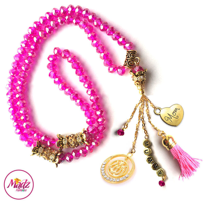 Madz Fashionz UK: 99 Beads Personalised Tasbeeh with Hot Pink Shocking Crystals in Gold Finish