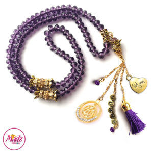 Madz Fashionz UK: 99 Beads Personalised Tasbeeh with Purple Crystals in Gold Finish