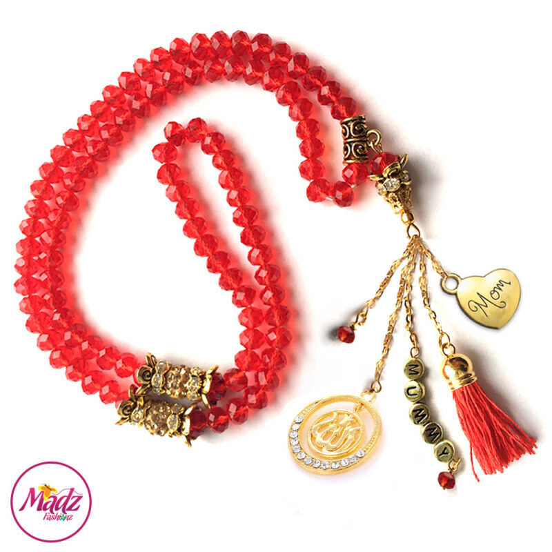 Madz Fashionz UK: 99 Beads Personalised Tasbeeh with Red Crystals in Gold Finish
