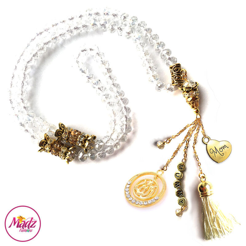 Madz Fashionz UK: 99 Beads Personalised Tasbeeh with White Crystals in Gold Finish