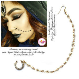 Madz Fashionz UK: ItsCutieBeauty Crystal Pearl Nose Rings Nath Indian Gold White
