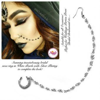 Madz Fashionz UK: ItsCutieBeauty Crystal Pearl Nose Rings Nath Indian Silver White