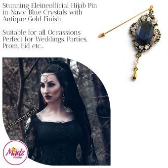 Madz Fashionz UK: Eleineofficial Kundan Hijab Pin Hijab Jewels Stick Pins Antique Gold Navy Blue