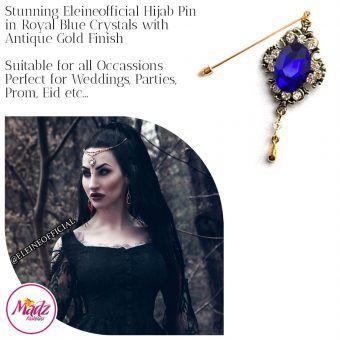 Madz Fashionz UK: Eleineofficial Kundan Hijab Pin Hijab Jewels Stick Pins Antique Gold Royal Blue