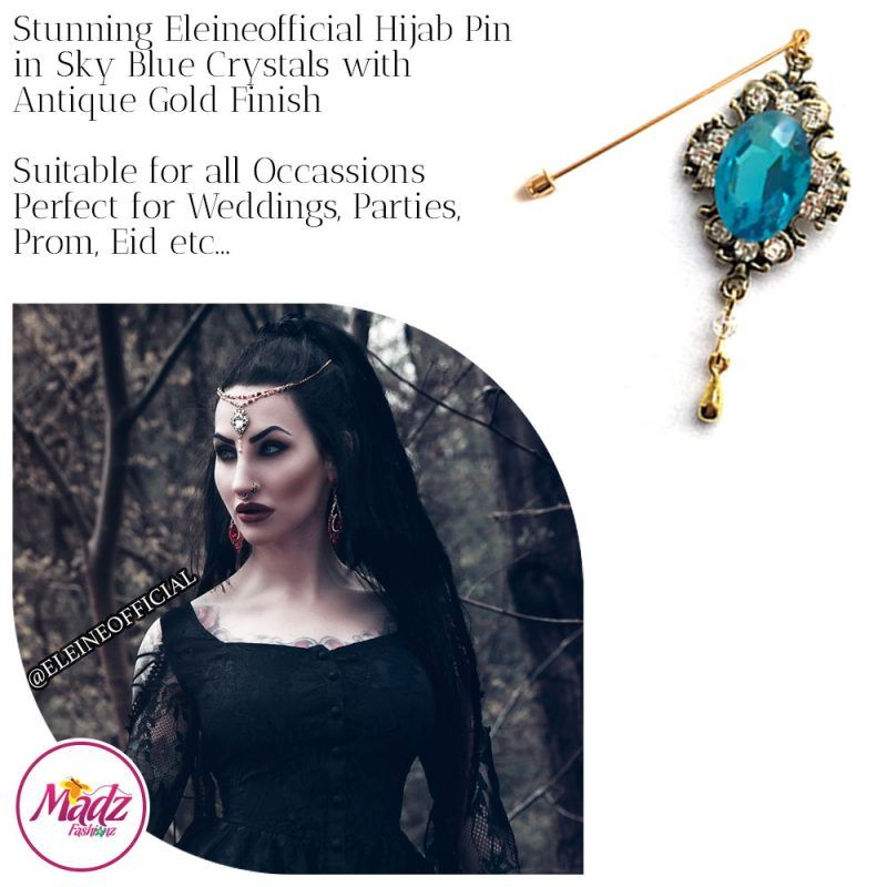 Madz Fashionz UK: Eleineofficial Kundan Hijab Pin Hijab Jewels Stick Pins Antique Gold Sky Blue