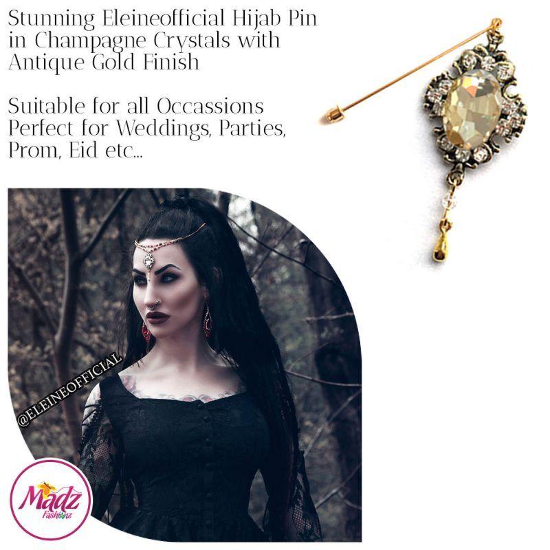 Madz Fashionz UK: Eleineofficial Kundan Hijab Pin Hijab Jewels Stick Pins Antique Gold Champagne