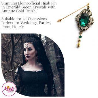 Madz Fashionz UK: Eleineofficial Kundan Hijab Pin Hijab Jewels Stick Pins Antique Gold Emerald Dark Green