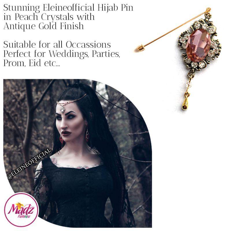 Madz Fashionz UK: Eleineofficial Kundan Hijab Pin Hijab Jewels Stick Pins Antique Gold Peach