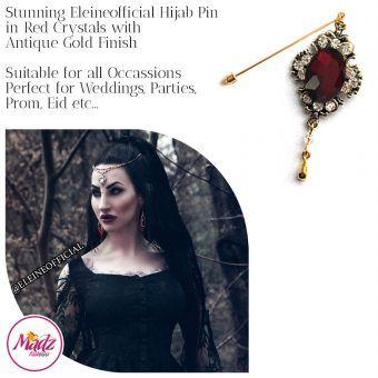 Madz Fashionz UK: Eleineofficial Kundan Hijab Pin Hijab Jewels Stick Pins Antique Gold Red