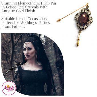 Madz Fashionz UK: Eleineofficial Kundan Hijab Pin Hijab Jewels Stick Pins Antique Gold Coffee Red