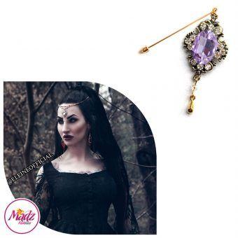 Madz Fashionz UK: Eleineofficial Kundan Hijab Pin Hijab Jewels Stick Pins Antique Gold Voilet