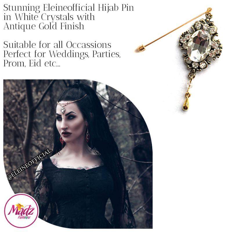 Madz Fashionz UK: Eleineofficial Kundan Hijab Pin Hijab Jewels Stick Pins Antique Gold White