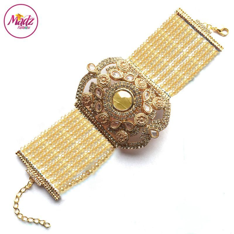 Madz Fashionz UK: Bridal Hennabyang Imperial Jhoda Cuff Bracelet Handpiece Angla Gold Champagne