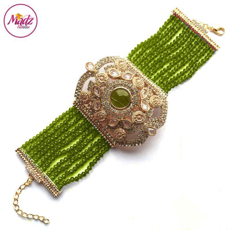 Madz Fashionz UK: Bridal Hennabyang Imperial Jhoda Cuff Bracelet Handpiece Angla Gold Mehndi Green