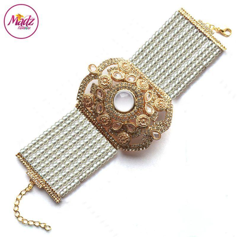 Madz Fashionz UK: Bridal Hennabyang Imperial Jhoda Cuff Bracelet Handpiece Angla Gold White