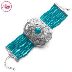 Madz Fashionz UK: Bridal Hennabyang Imperial Jhoda Cuff Bracelet Handpiece Angla Silver Sky Blue