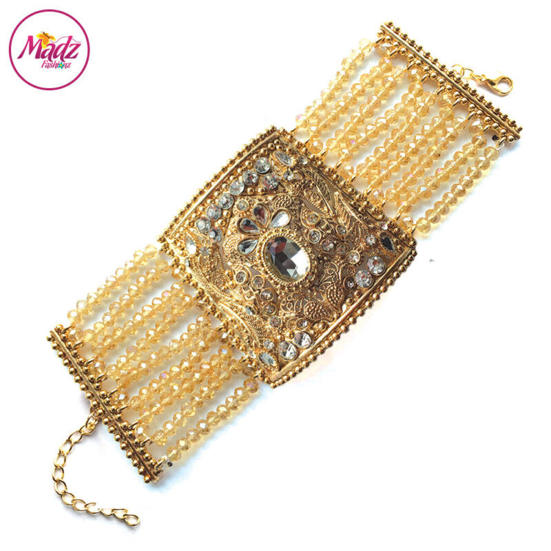 Madz Fashionz UK: Traditional Bridal Cuff Bracelet Handpiece Handchain Angla Gold Champagne