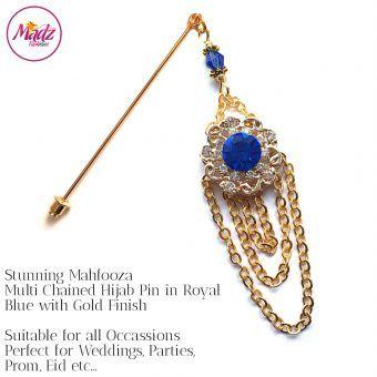 Madz Fashionz UK: Mehfooza Chandelier Drop Hijab Pin Hijab Jewels Stick Pins Gold Chained Royal Blue