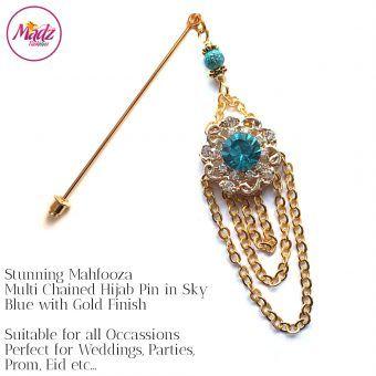 Madz Fashionz UK: Mehfooza Chandelier Drop Hijab Pin Hijab Jewels Stick Pins Gold Chained Sky Blue