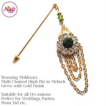 Madz Fashionz UK: Mehfooza Chandelier Drop Hijab Pin Hijab Jewels Stick Pins Gold Chained Apple Mehndi Green
