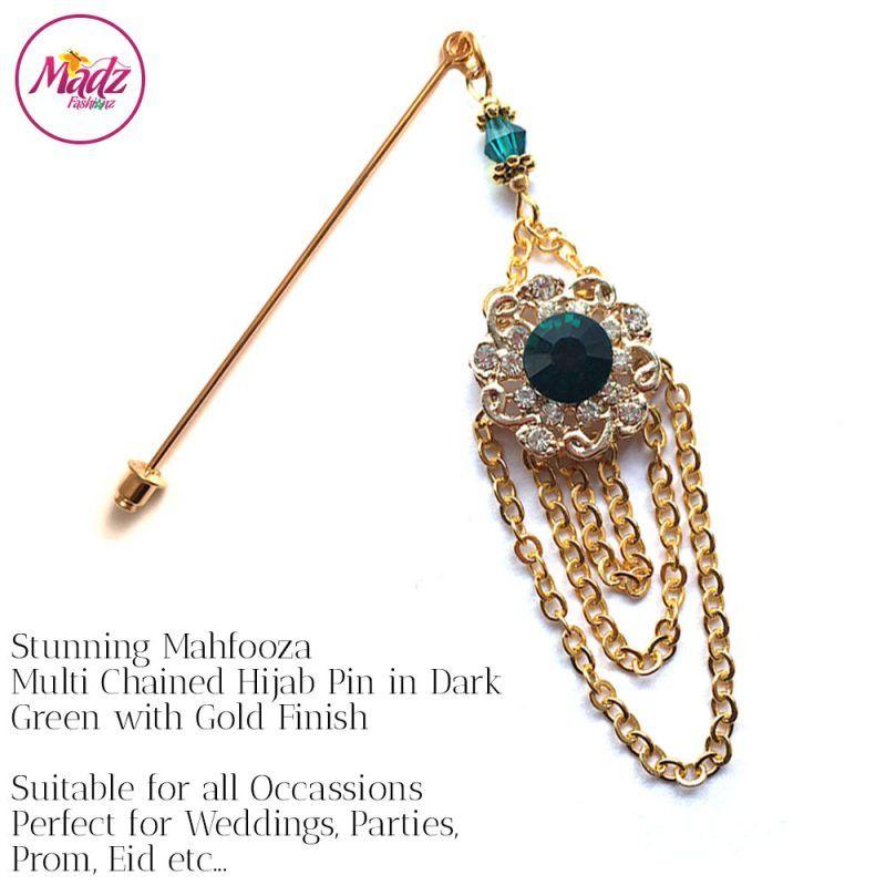 Madz Fashionz UK: Mehfooza Chandelier Drop Hijab Pin Hijab Jewels Stick Pins Gold Chained Green Dark