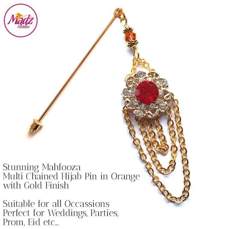 Madz Fashionz UK: Mehfooza Chandelier Drop Hijab Pin Hijab Jewels Stick Pins Gold Chained Orange