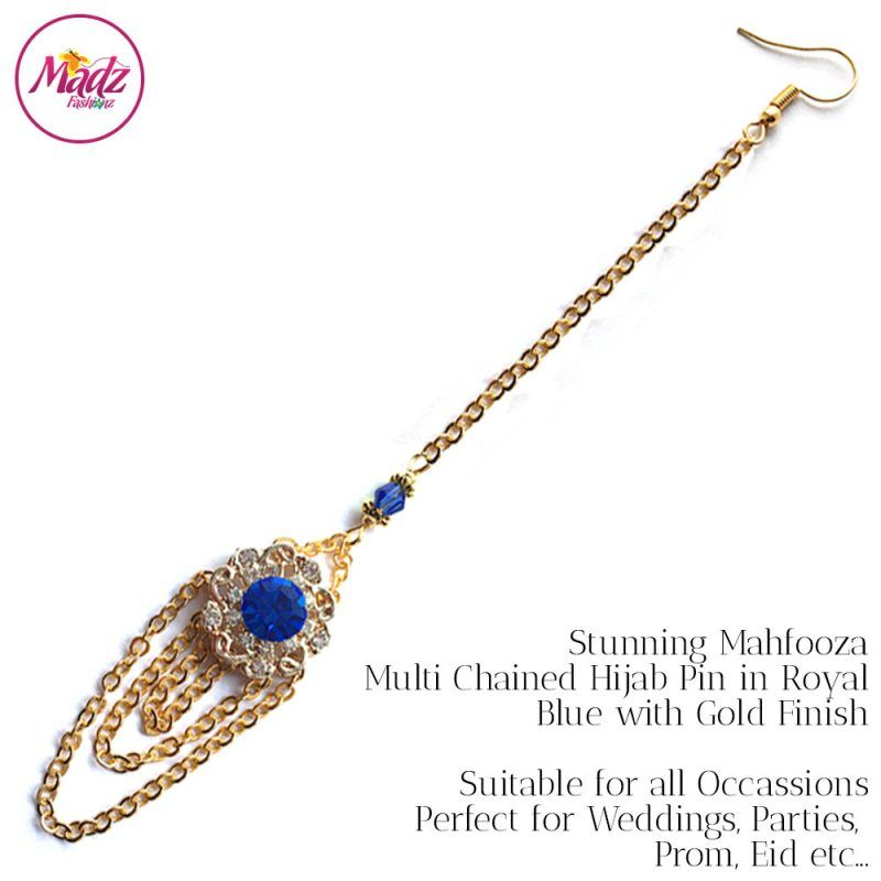 Madz Fashionz UK: Mehfooza Chandelier Maang Tikka Hair Tikka Gold Multi Chained Tassel Royal Blue
