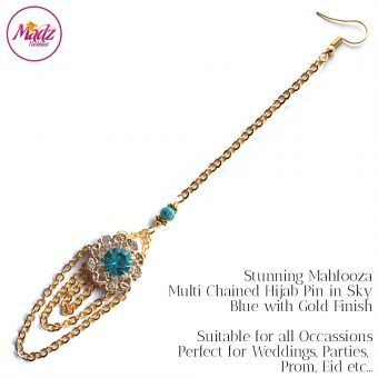 Madz Fashionz UK: Mehfooza Chandelier Maang Tikka Hair Tikka Gold Multi Chained Tassel Sky Blue