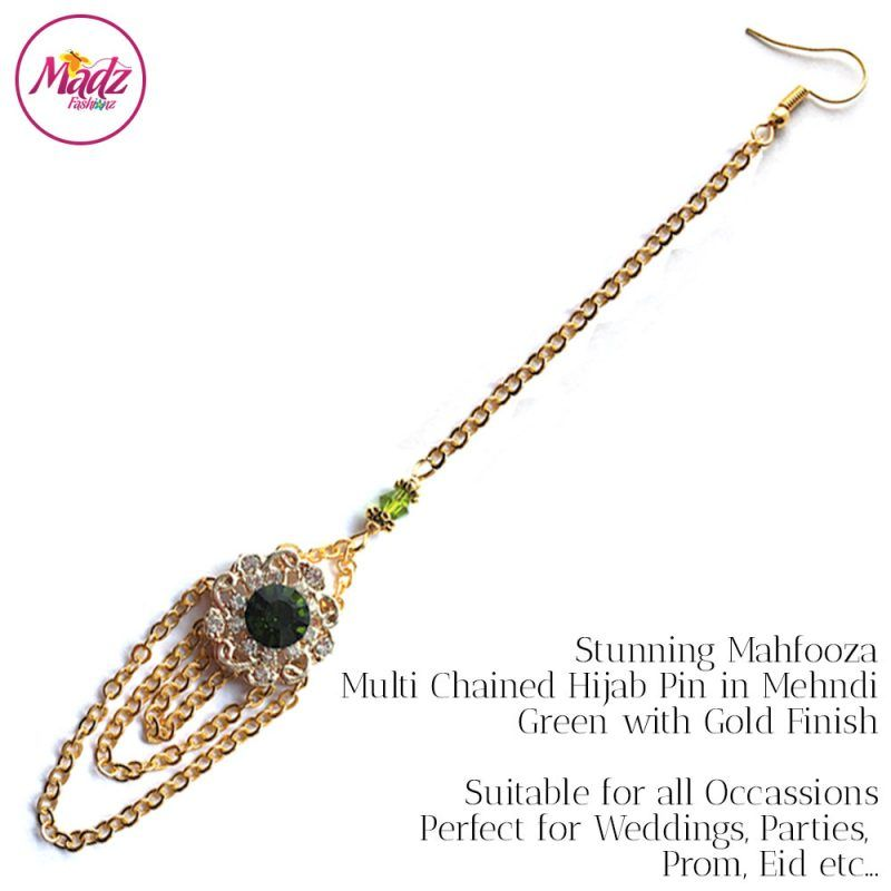 Madz Fashionz UK: Mehfooza Chandelier Maang Tikka Hair Tikka Gold Multi Chained Tassel Green Apple
