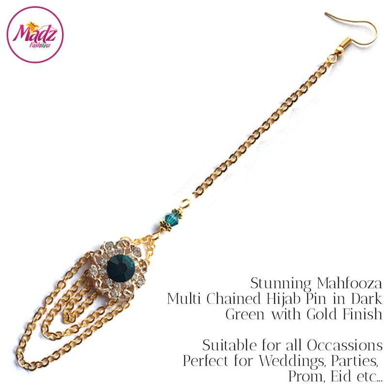 Madz Fashionz UK: Mehfooza Chandelier Maang Tikka Hair Tikka Gold Multi Chained Tassel Green Dark Emerald