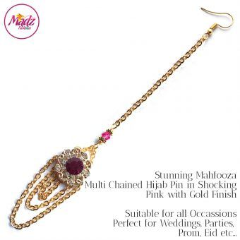 Madz Fashionz UK: Mehfooza Chandelier Maang Tikka Hair Tikka Gold Multi Chained Tassel Shocking Pink