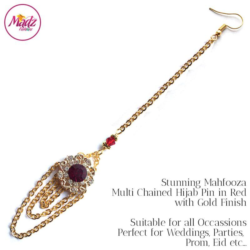 Madz Fashionz UK: Mehfooza Chandelier Maang Tikka Hair Tikka Gold Multi Chained Tassel Red