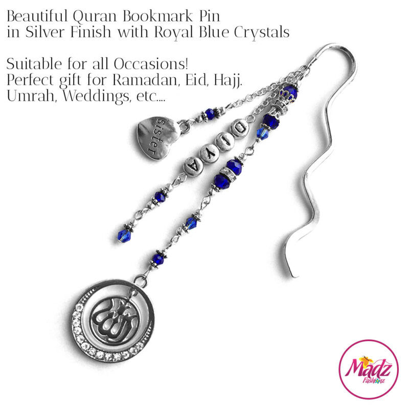 Madz Fashionz UK: Personalised Quran Bookmarks Pins Gifts in Royal Blue Crystals with Silver Finish