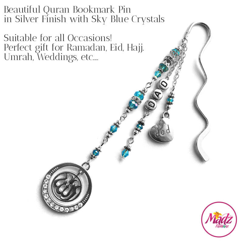 Madz Fashionz UK: Personalised Quran Bookmarks Pins Gifts in Sky Blue Crystals with Silver Finish