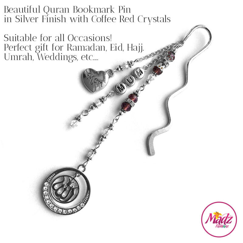Madz Fashionz UK: Personalised Quran Bookmarks Pins Gifts in Coffee Red Crystals with Silver Finish