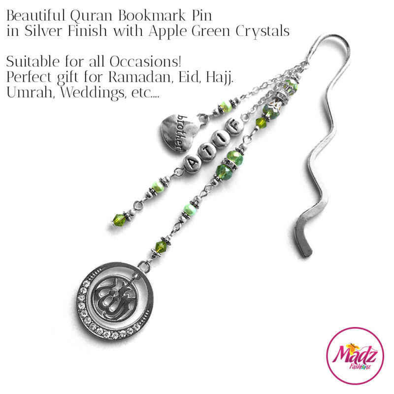 Madz Fashionz UK: Personalised Quran Bookmarks Pins Gifts in Apple Green Crystals with Silver Finish