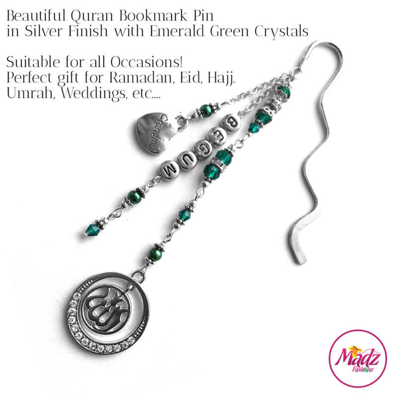 Madz Fashionz UK: Personalised Quran Bookmarks Pins Gifts in Emerald Green Crystals with Silver Finish