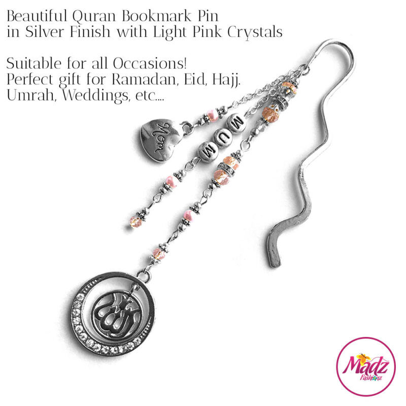 Madz Fashionz UK: Personalised Quran Bookmarks Pins Gifts in Light Pink Crystals with Silver Finish