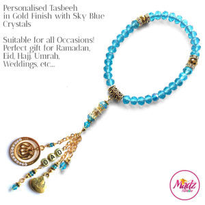 Madz Fashionz UK: 33 Beads Personalised Tasbeeh with Sky Blue Crystals in Gold Finish