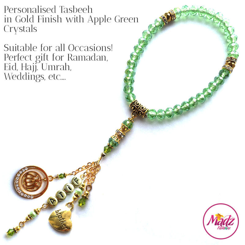 Madz Fashionz UK: 33 Beads Personalised Tasbeeh with Apple Green Crystals in Gold Finish