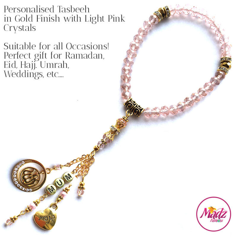 Madz Fashionz UK: 33 Beads Personalised Tasbeeh with Light Pink Crystals in Gold Finish