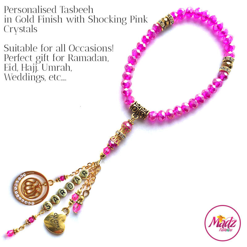 Madz Fashionz UK: 33 Beads Personalised Tasbeeh with Shocking Pink Crystals in Gold Finish