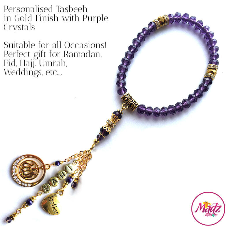 Madz Fashionz UK: 33 Beads Personalised Tasbeeh with Purple Crystals in Gold Finish