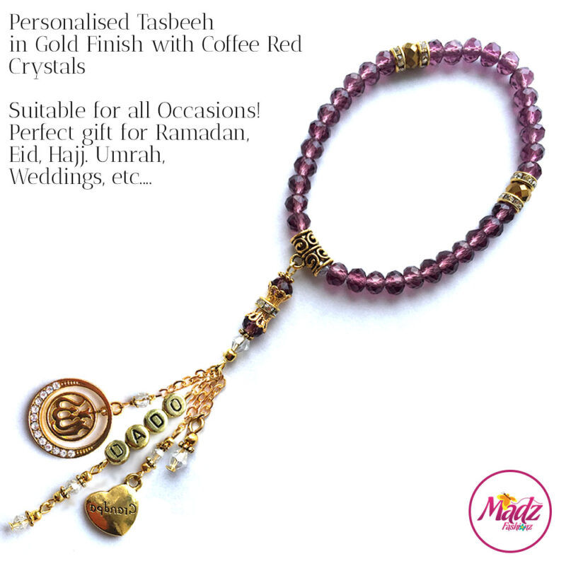 Madz Fashionz UK: 33 Beads Personalised Tasbeeh with Coffee Red Crystals in Gold Finish